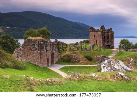 Castle of Loch Ness in Scotland.  - stock photo