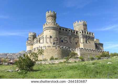 Castle of Manzanares el Real, Madrid (Spain) - stock photo