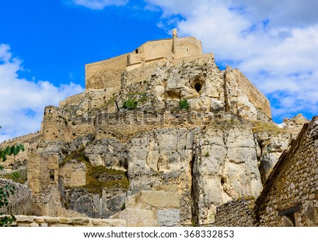Castle of Morella, the province of Castellon, Spain. - stock photo