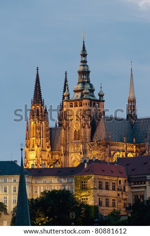 Castle of Prague as seen from Charles Bridge - stock photo