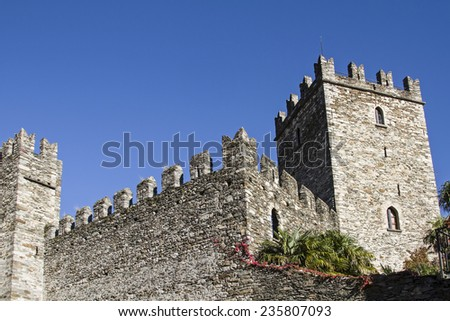 castle of Rezzonico, a small fishing village on Lake Como - stock photo