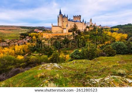 Castle of Segovia  in november day. Castile and Leon, Spain - stock photo