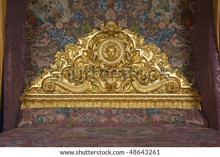 Castle of Versailles, France - The King's bed - stock photo