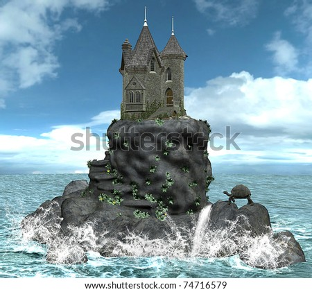 Castle on a island - stock photo