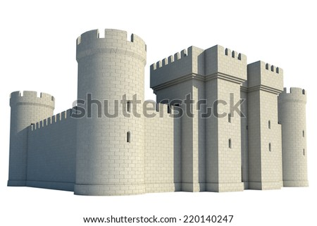 castle on a white background - stock photo
