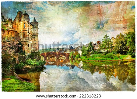 castle on lake - artwork in painting style (Espalion, France) - stock photo