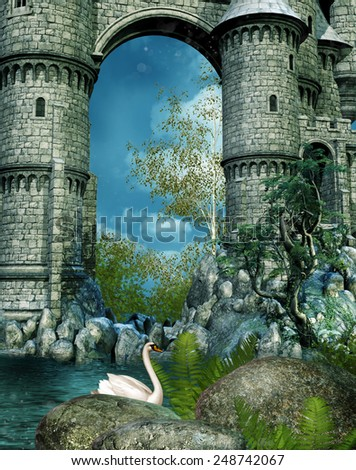 Castle ruins by a lake with rocks and a swan - stock photo