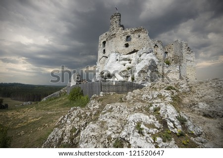 Castle ruins in Mirow, Poland - stock photo
