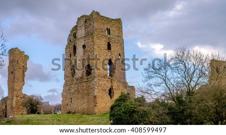 Castle ruins in the village of Sheriff Hutton, North Yorkshire, England - stock photo