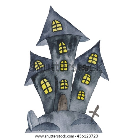 Castle Scary Halloween Holidays Watercolor hand-painted illustration  - stock photo