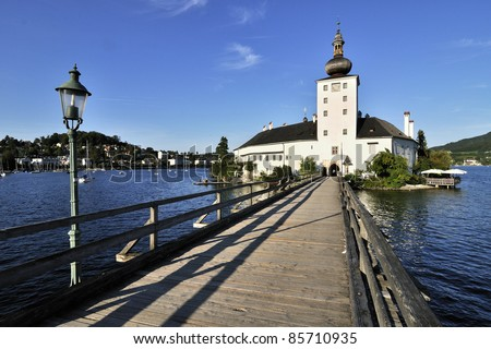 Castle Schloss Orth,Traunsee lake - Austria - stock photo