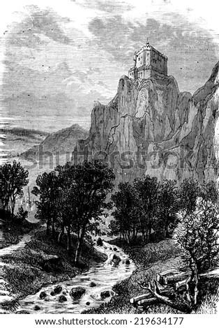 Castle Schoenhausen, vintage engraved illustration. Journal des Voyage, Travel Journal, (1880-81). - stock photo
