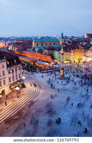 Castle Square at evening in the Old Town of Warsaw, Poland - stock photo