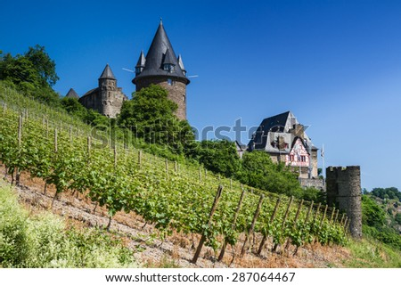 Castle Stahleck in the vineyards, Bacharach, Germany - stock photo