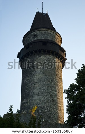 castle tower - Stramberk look out tower at sun set - stock photo