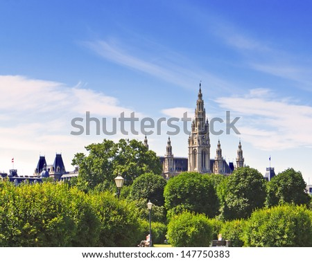 Castle Town Hall in Vienna Austria against a beautiful sky - stock photo