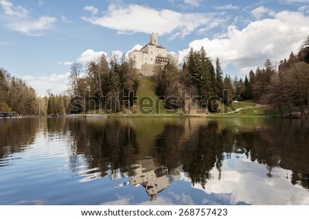 Castle Trakoscan, located in northern Croatia. Trakoscan dates back to the 13th century (first written mention is in 1334). Trakoscan Castle is situated at an altitude of 280 m. - stock photo