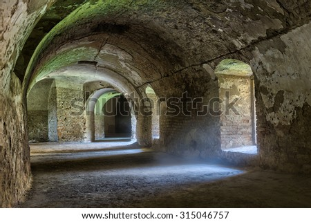 Castle tunnel inside Bastion fortress in the Slovak city of Komarno used in past for relocation artillery by horses under bastion fortress complex. - stock photo
