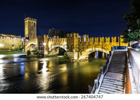 Castle Vecchio at summer night  in Verona, Italy - stock photo