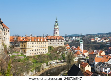 Castle with the famous round tower in Cesky Krumlov, Czech Republic - stock photo