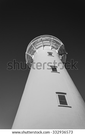 Castlepoint lighthouse from below. New Zealand. Black and white photo.  - stock photo