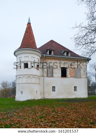 Castles in Lithuania. Siesikai castle under construction. Historic palace in the Neoclassical style.Historic building in Lithuania.Facade of castle in town on the east of Lithuania, Ukrmerges district - stock photo