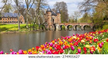 castles of Belgium -Groot-Bijgaarden with famous gardens - stock photo