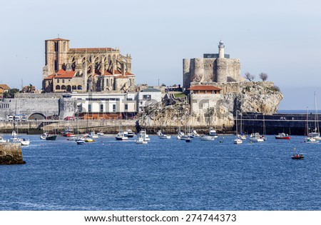 Castro Urdiales, Spain - April 03, 2015: Church of St. Mary of the Assumption in Castro Urdiales , Cantabria, Spain - stock photo