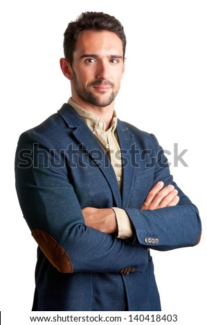 Casual business man with arms crossed in a white background - stock photo
