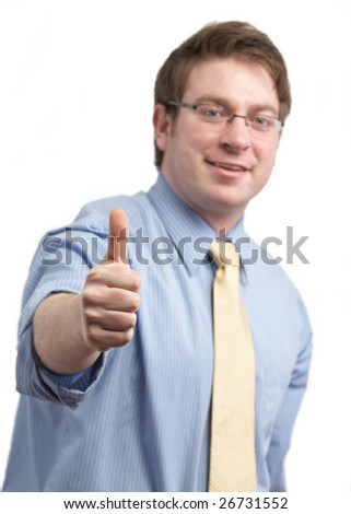 Casual businessman giving thumbs up on white - stock photo
