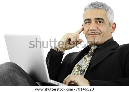 Casual businessman thinking leaning on hand, using laptop computer. Isolated on white.? - stock photo