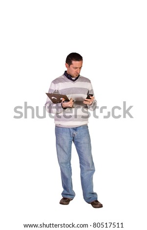 Casual Businessman With a Clipboard on an Isolated Background - stock photo