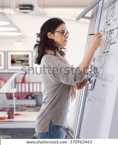 Casual caucasian mid adult woman busy drawing plan at architect business office on drawing board. Pen in hand, wearing glasses, standing. Focused, concentration. - stock photo