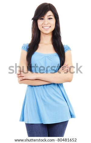 Casual confident woman standing isolated on white background - stock photo