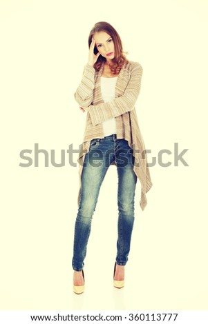 Casual depressed woman. - stock photo