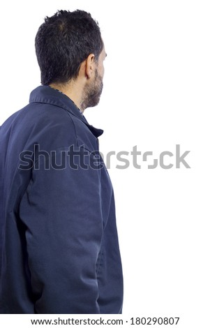 casual dressed man with white space for composites - stock photo