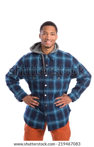 Casual Dressed Young African American Male College Student Standing on Isolated Background - stock photo