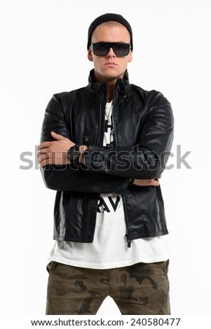 Casual fashion man posing on white background - stock photo