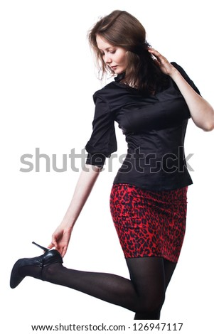 Casual fashion style woman studio portrait isolated - stock photo