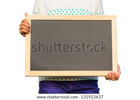 Casual girl holding blank chalkboard on white background, communication concept - stock photo