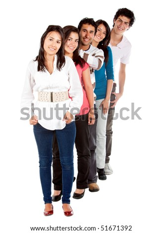 Casual group of friends isolated over a white background - stock photo