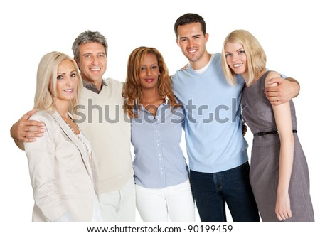 Casual group of friends isolated over white background - stock photo