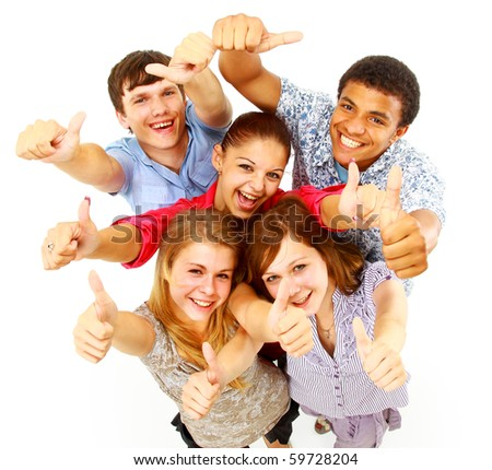 casual group of happy people isolated over white - stock photo
