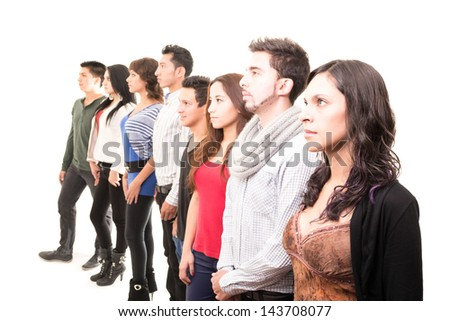Casual group of people serious- color processed - stock photo