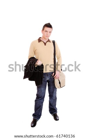 casual guy with bag isolated over white background - stock photo