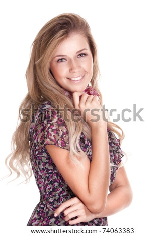 Casual happy blonde woman on white background - stock photo