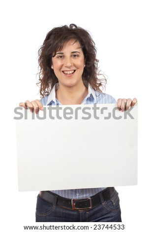 Casual happy woman holding the blank banner on white background - stock photo
