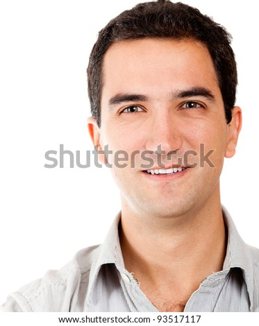 Casual male portrait - isolated over a white background - stock photo