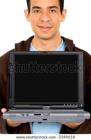 casual male student showing a laptop - isolated over white - stock photo