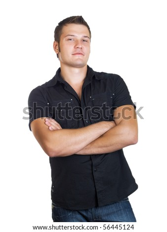 casual man portrait on the white background - stock photo